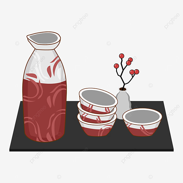 japanese sake with red abstract pattern