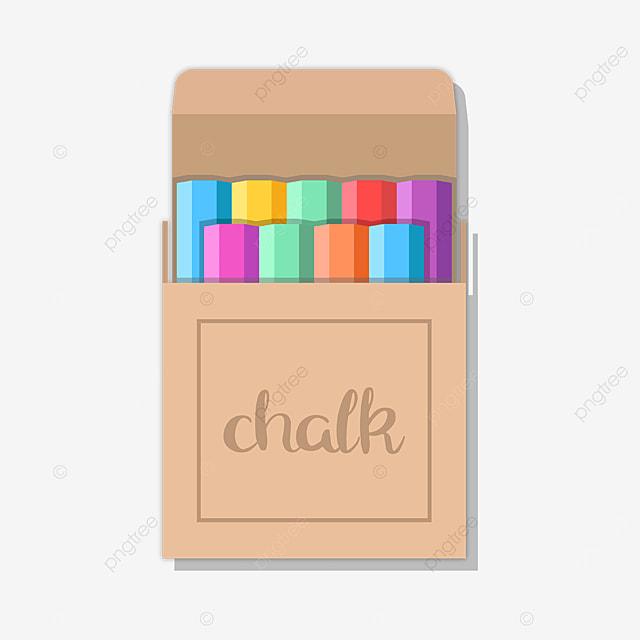 kraft paper box colored chalk clipart