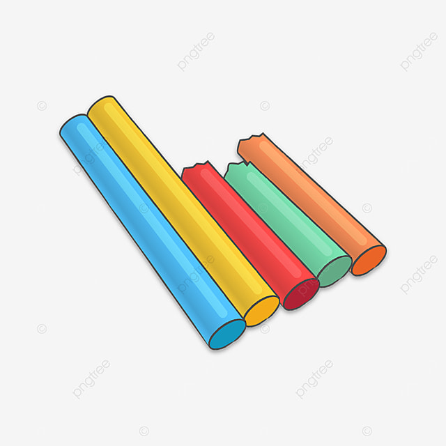 multicolored chalks of various lengths clipart