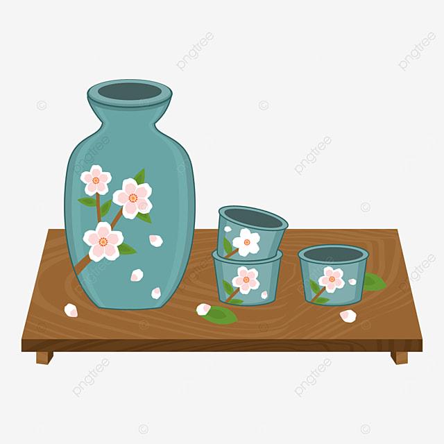 sakura patterned japanese sake