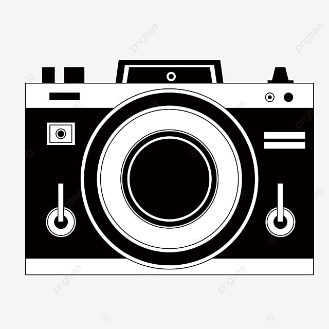 black and white camera clipart