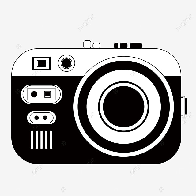 black and white clipart camera