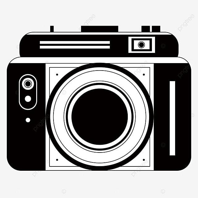 black and white square camera clipart