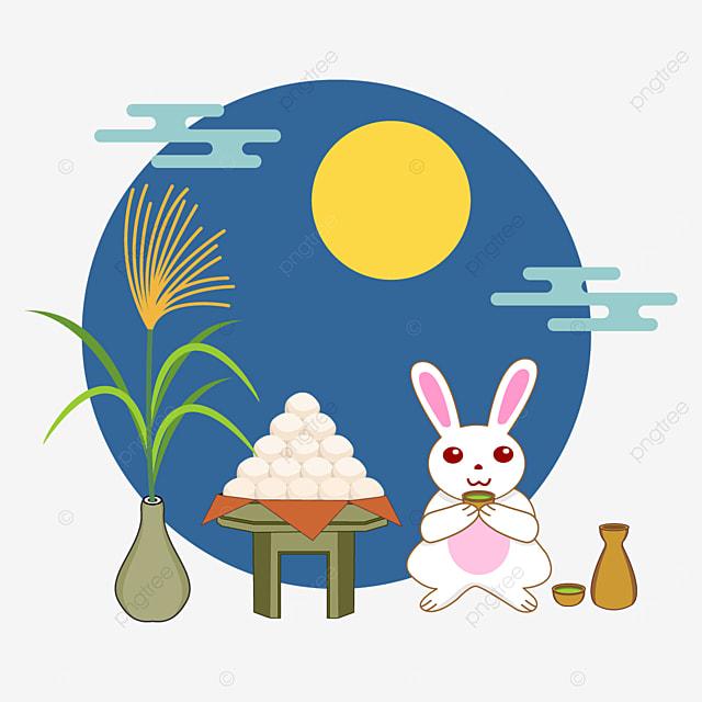 bunny drinking sake and tsukimi dango