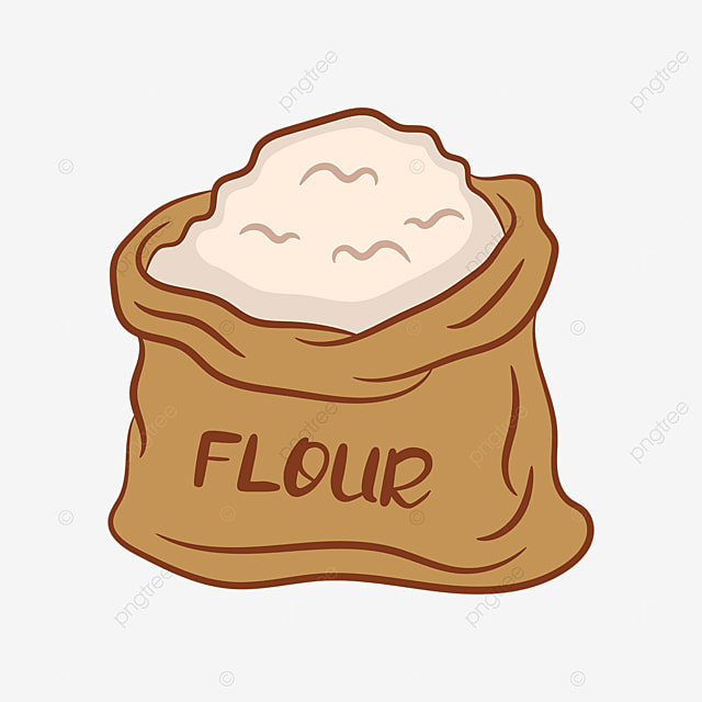 earthy yellow bagged flour clipart