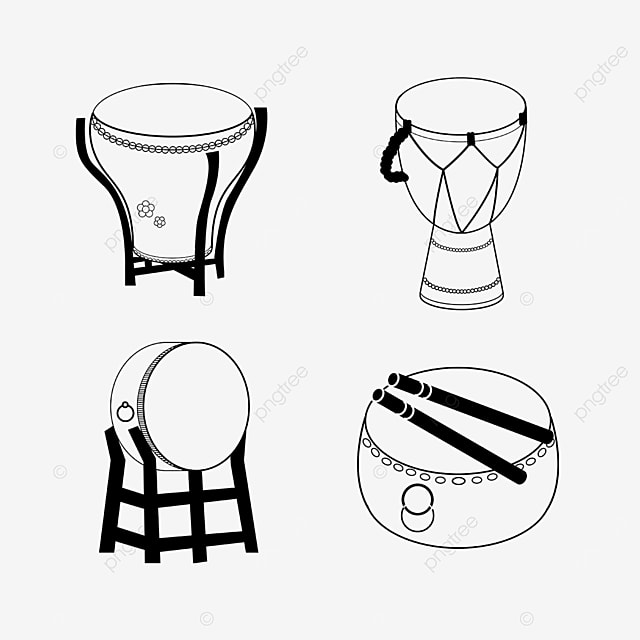 line draft music equipment various drums
