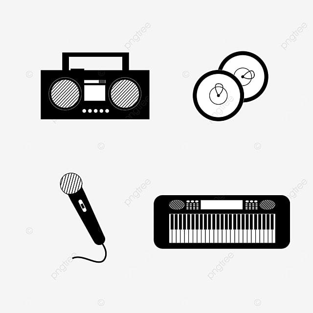 monochrome lineart music equipment singing