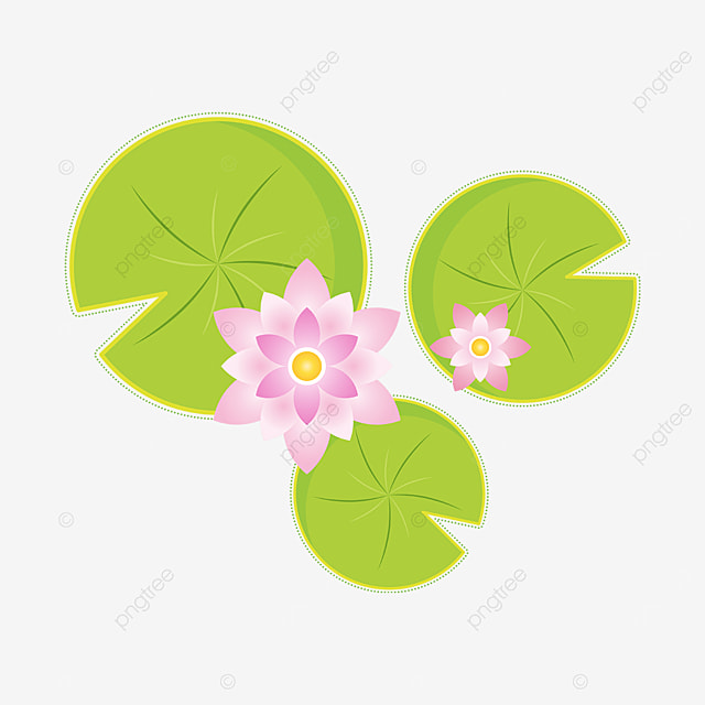 pink tender green water lily clipart