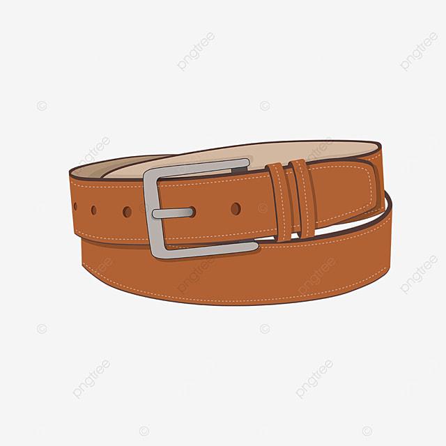 yellow brown belt with metal buckle clip art