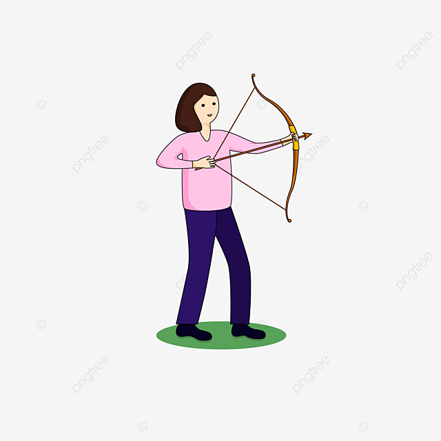 lady pulling bow archery clip art
