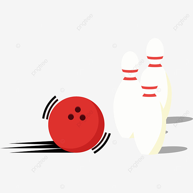 red bowling ball about to hit clipart