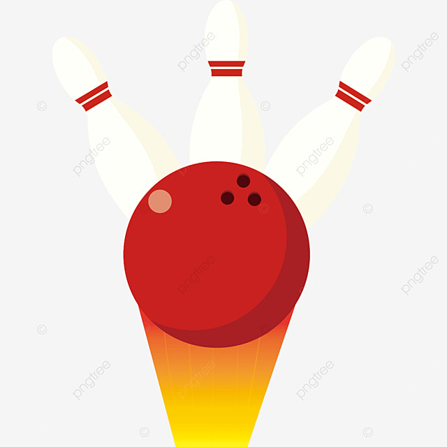 red bowling ball hits three bowlers clipart
