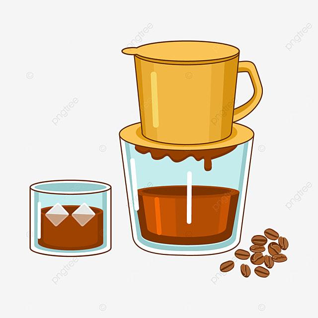 vietnam drip coffee and yellow drip coffee pot