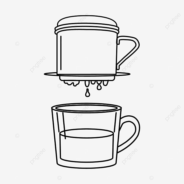 vietnamese drip coffee in black and white lineart