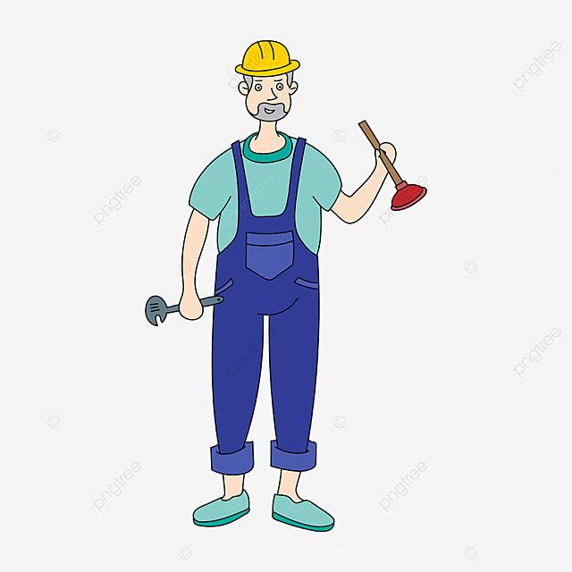 blue green plumber clip art