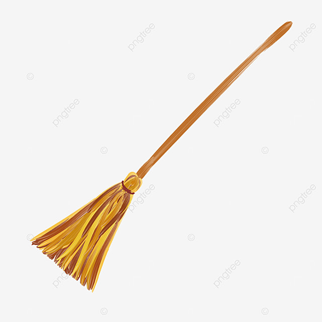 brown flat style broom with wooden handle clipart