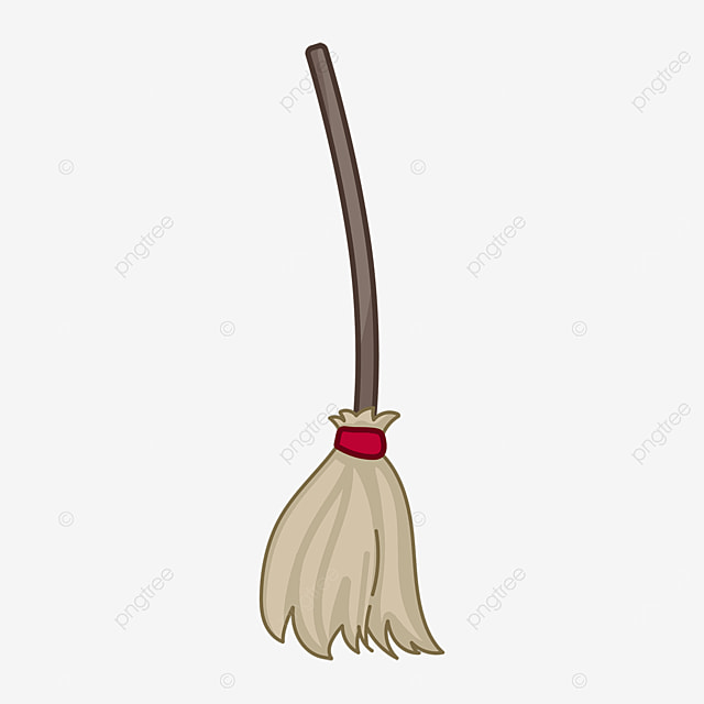 brown flat style long handle broom clipart