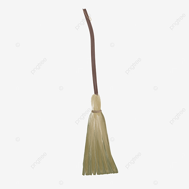 brown long handle flat style broom clipart