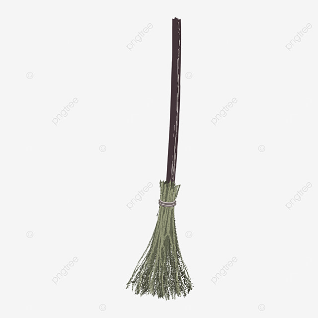 brown sweeping broom with wooden handle clipart