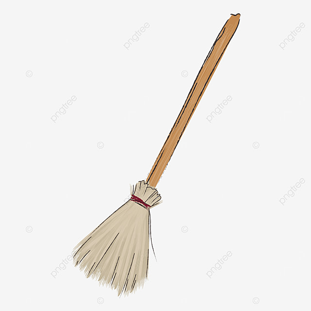 flat style brown broom with wooden handle clipart