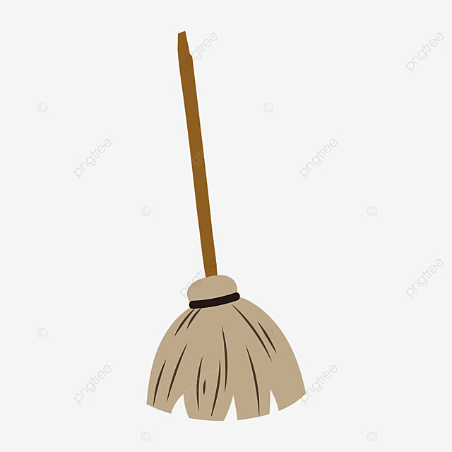 flat style long handle brown broom clipart