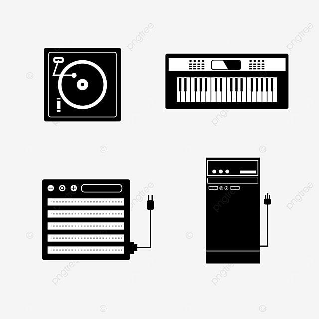 monochrome line draft music equipment playback