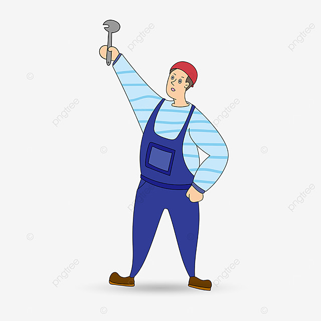 plumber holding a wrench clipart