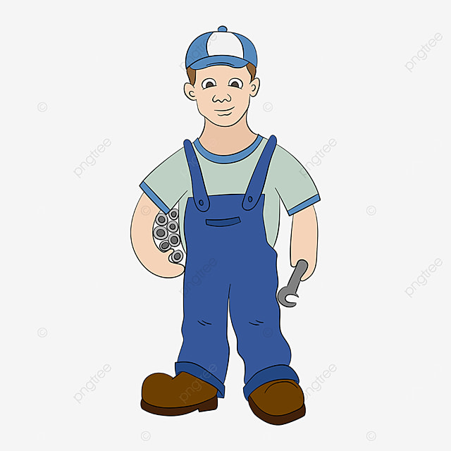 plumber holding water pipe clip art