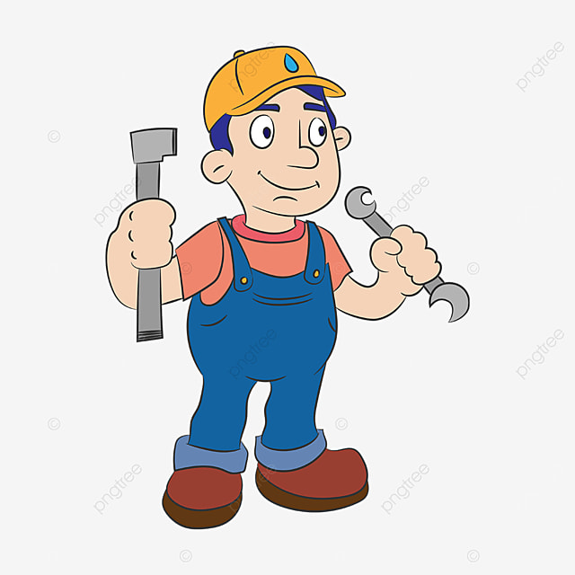 plumber in blue overalls clipart