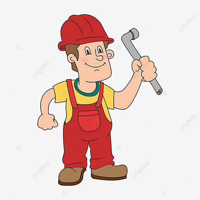 plumber in red overalls clipart