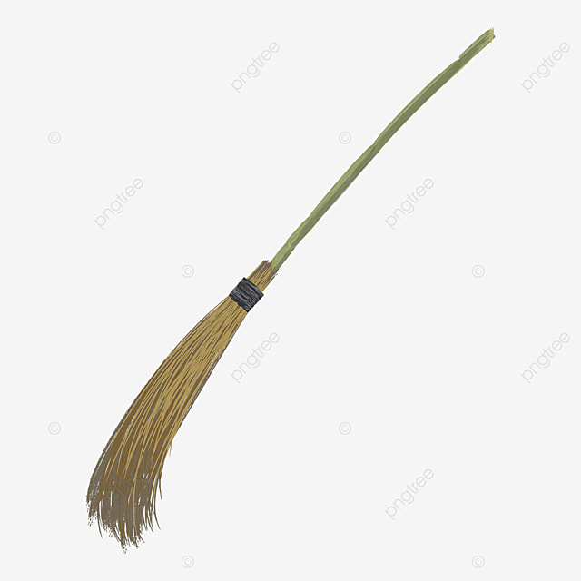 sweeping broom with brown wooden handle clipart