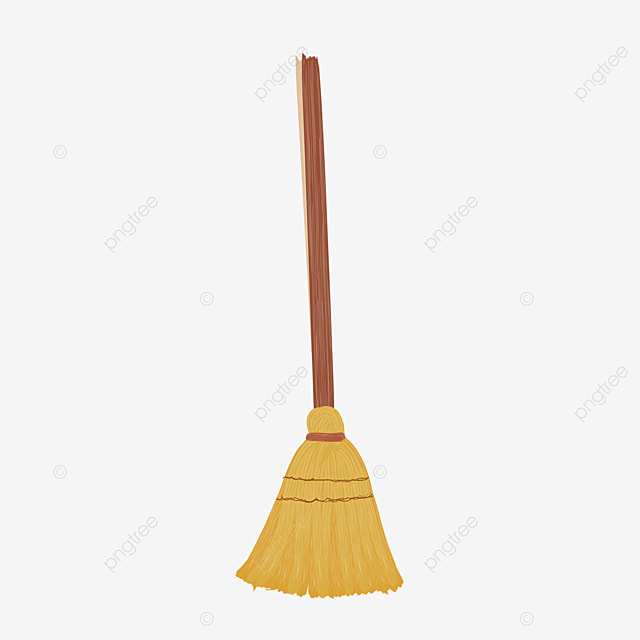 sweeping brown broom with wooden handle clipart