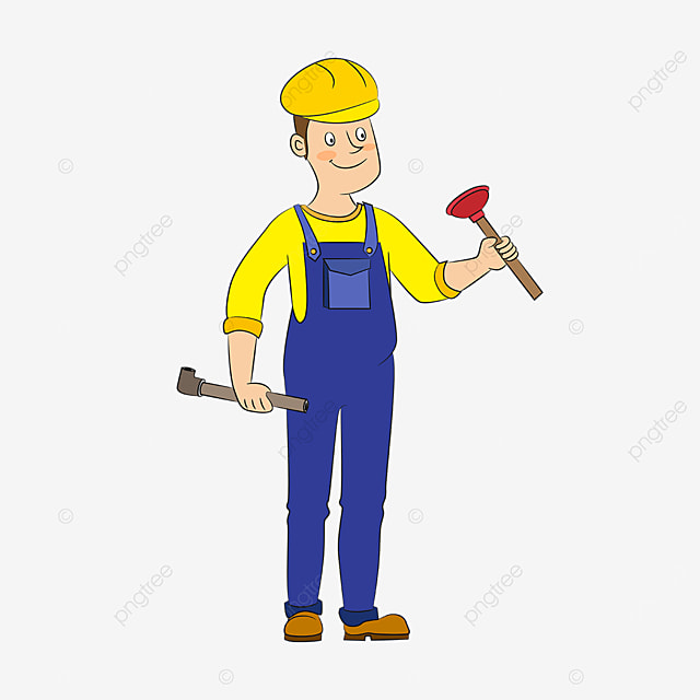 yellow blue plumber clip art