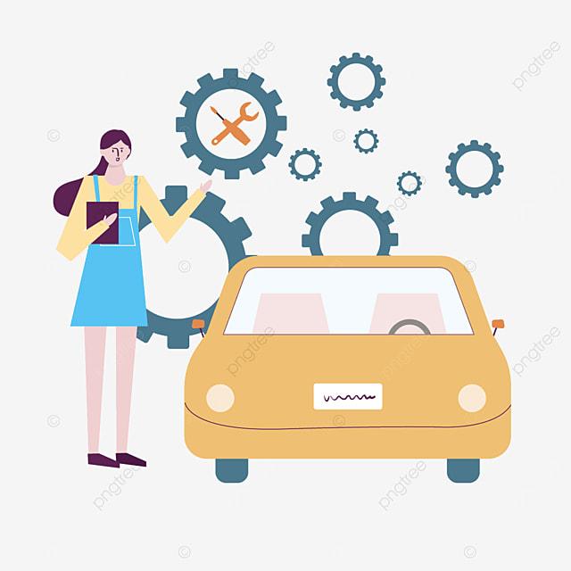 blue female car repair attendant illustration