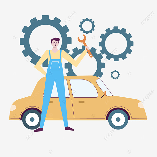 blue male car repair attendant illustration