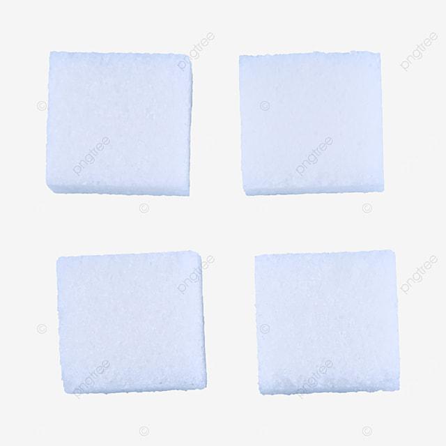 four sugar cubes placed