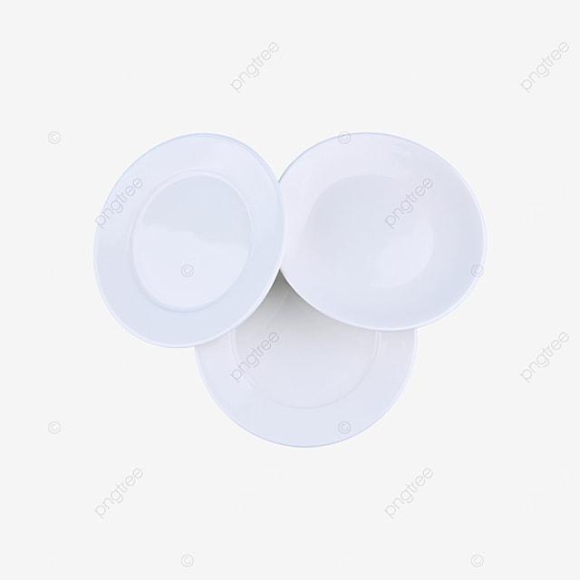three blank clean circular tableware