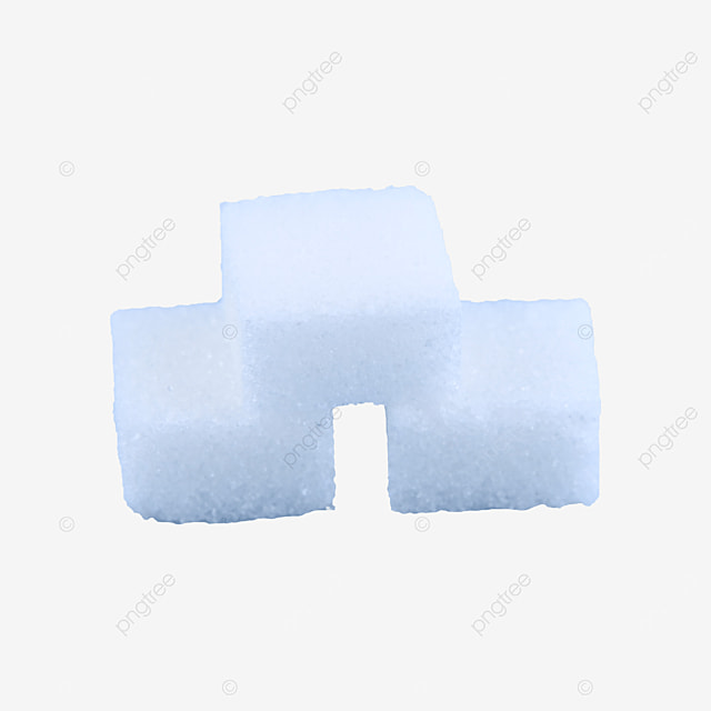 three sugar cubes placed