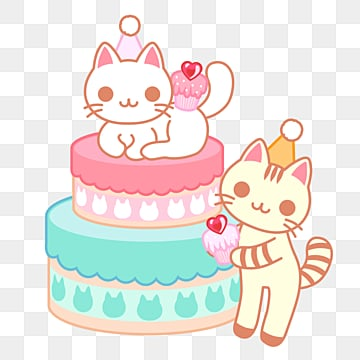 Cute Kitten Birthday Cake Hat And Gift Illustration For Birthday Sticker Set And Clip Art Images Cat Vector Background Png Transparent Background