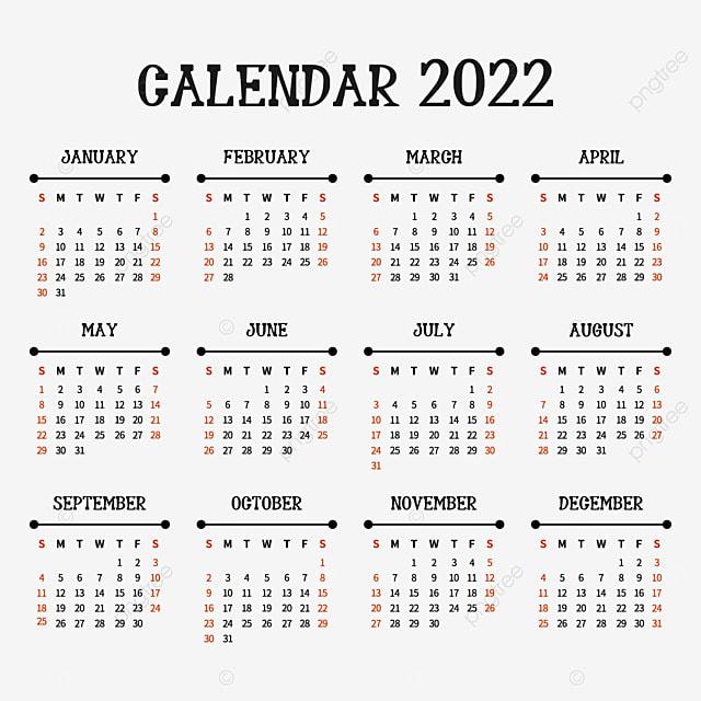 Calendrier 2022 Anglais 2022 Calendrier Noir Anglais Et Chiffres, 2022 Jours, Calendrier