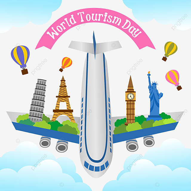 world tourism day aircraft and architectural pattern