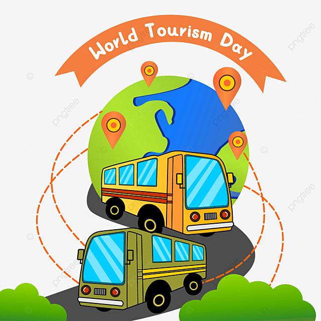 world tourism day travel bus pattern