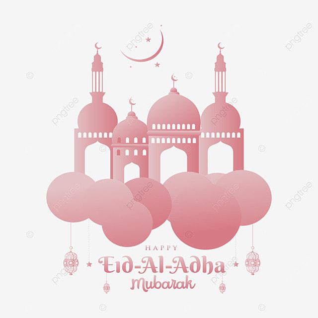 Happy Eid Al Adha Mubarak Muslim Design With Clouds Mosque, Muslim Eid, Arabic Style, Eid Al Adha Png PNG and Vector