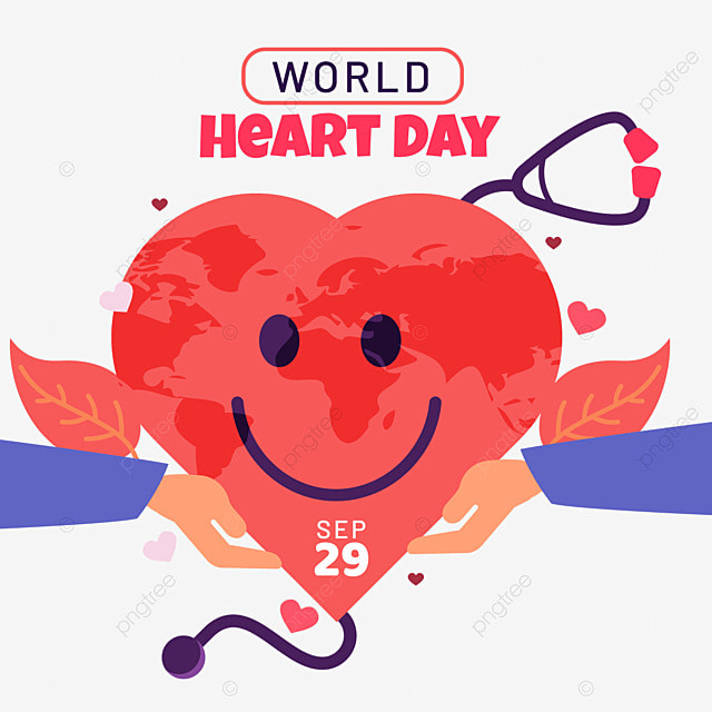world heart day with and planet vector