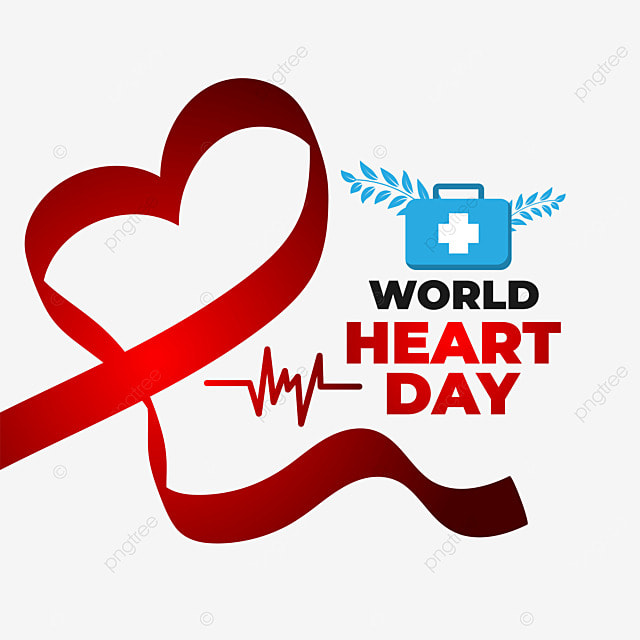world heart day with red love ribbon