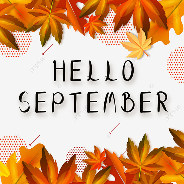 hello september wave dot maple leaf autumn stitching