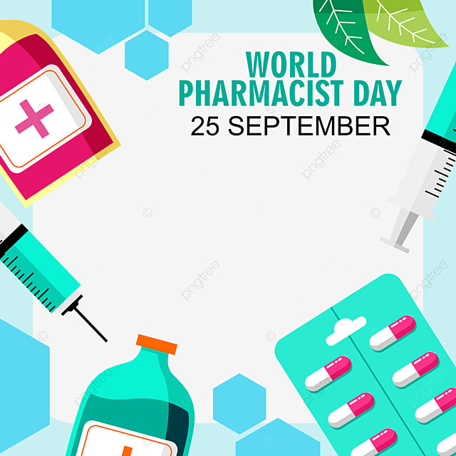 world pharmacist day abstract blue twibbon frame with medicine element