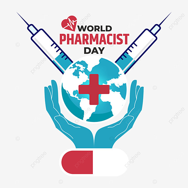 world pharmacist day with injections and plus sign