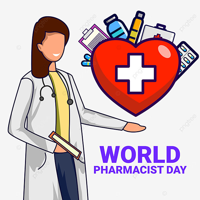 illustrtaion of world pharmacist day with doctor and heart cartoon
