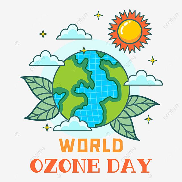 world ozone day beautiful earth and sun illustration